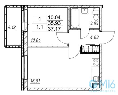 Продажа 1-комнатной квартиры, 37.17 м2 - Фото 2