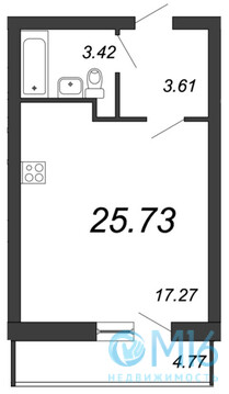 Продажа студии, 25.73 м2 - Фото 2