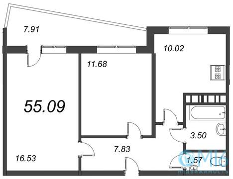 Продажа 2-комнатной квартиры, 55.09 м2 - Фото 2