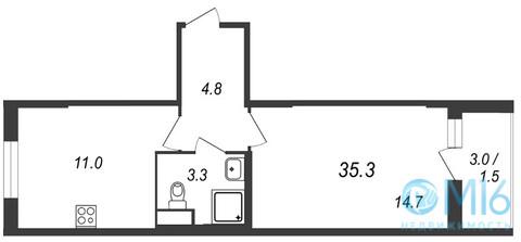 Продажа 1-комнатной квартиры, 35.3 м2 - Фото 2