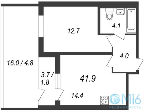 Продажа 1-комнатной квартиры, 43.3 м2 - Фото 1