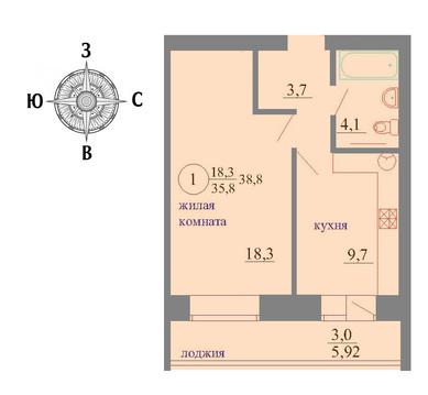 Продажа 1-комнатной квартиры, 38.9 м2, Березниковский переулок, д. 34 - Фото 1