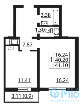 Продажа 1-комнатной квартиры 41.1 м2 в Калининском районе - Фото 2