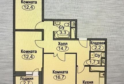 3-х ком. квартира 77,7 кв. м 10/17 к Домодедово, ул. Лунная 33