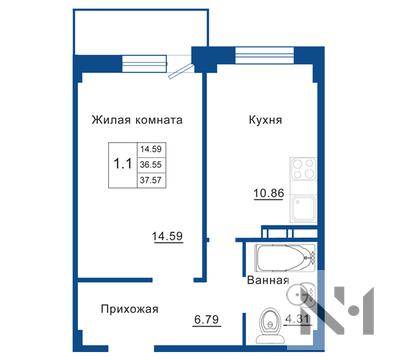 Квартира 37 м2 в комфорт-классе ЖК Родные Берега - Фото 1
