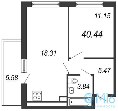 Продажа 1-комнатной квартиры, 40.44 м2 - Фото 2