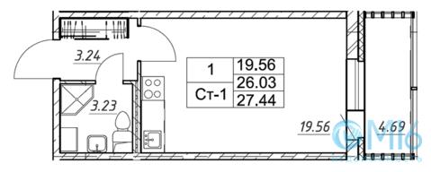 Продажа квартиры-студии, 27.44 м2 - Фото 2