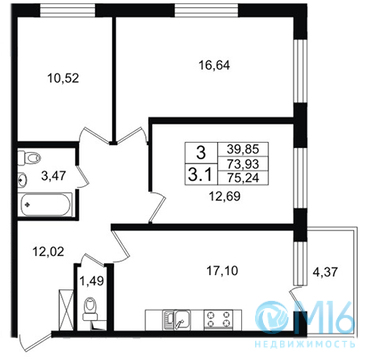 Продажа 3-комнатной квартиры, 75.24 м2 - Фото 1