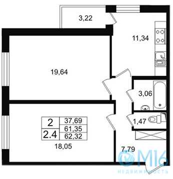 Продажа 2-комнатной квартиры, 62.32 м2 - Фото 2