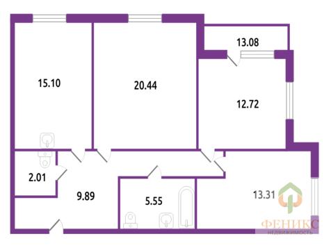 3 к кв на 13 этаже 24-этажного дома в ЖК Калина-Парк 2 - Фото 2
