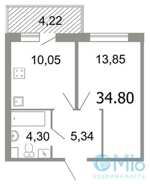 Продажа 1-комнатной квартиры, 34.8 м2 - Фото 2