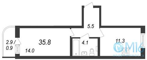 Продажа 1-комнатной квартиры, 35.8 м2 - Фото 2