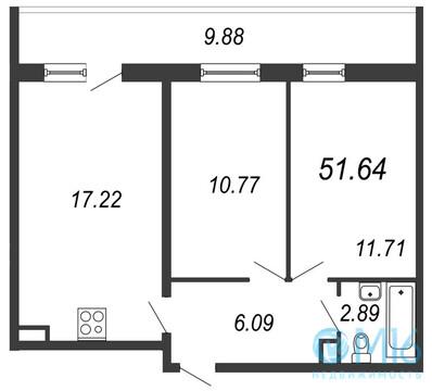 Продажа 2-комнатной квартиры в Московском районе, 51.64 м2 - Фото 1