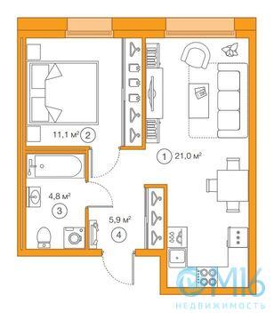 Продажа 1-комнатной квартиры, 42.81 м2 - Фото 2