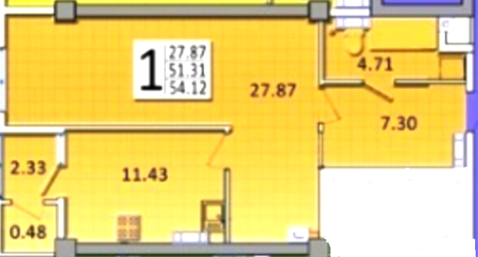 Крупногабаритная 1 к/квартира 54 м2 Острякова прт - Фото 4
