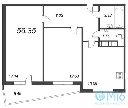 Продажа 2-комнатной квартиры, 56.35 м2 - Фото 1