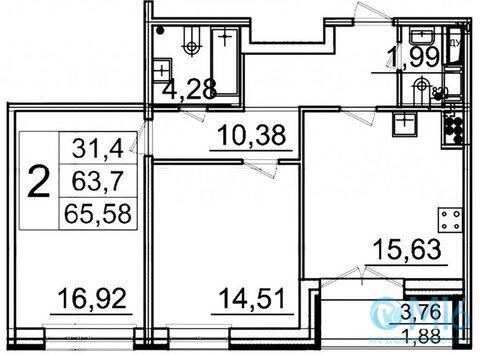 Продажа 2-комнатной квартиры в Московском районе, 65,58 м2 - Фото 2