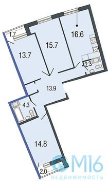 Продажа 3-комнатной квартиры в Приморском районе, 81.3 м2 - Фото 1