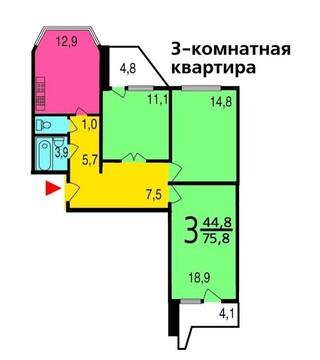 3-к Квартира, Дубнинская улица, 29 к 1 - Фото 5