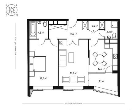 2-комн. квартира 74,2 кв.м. в новом 7-ми этажном доме САО г. Москвы - Фото 5