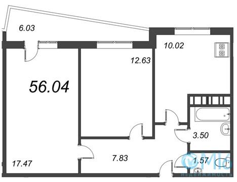 Продажа 2-комнатной квартиры, 56.04 м2 - Фото 2