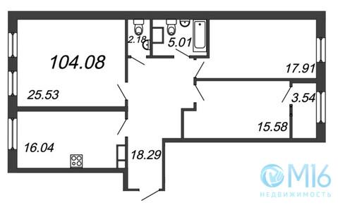 Продажа 3-комнатной квартиры, 104.08 м2 - Фото 2