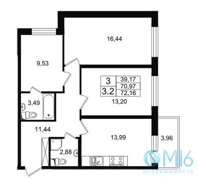 Продажа 3-комнатной квартиры, 72.16 м2 - Фото 1