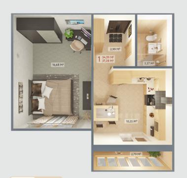 Купите просторную однокомнатную квартиру! - Фото 2