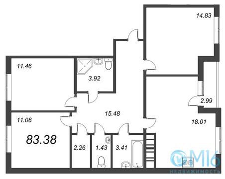 Продажа 3-комнатной квартиры, 83.38 м2 - Фото 1