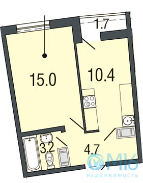 Продажа 1-комнатной квартиры в Приморском районе, 33.3 м2 - Фото 1