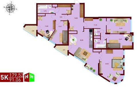 Продажа пятикомнатная квартира 179.52м2 в ЖК монтекристо секция а - Фото 1