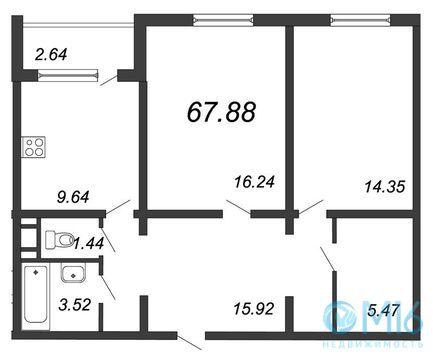 Продажа 2-комнатной квартиры, 67.88 м2 - Фото 2