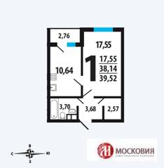 1 комн. квартира, 39,52 кв.м в Новой Москва за 3 355 248