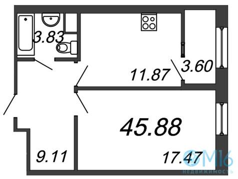 Продажа 1-комнатной квартиры, 45.88 м2 - Фото 2