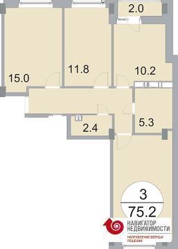 Продается 3-комн. квартира 75.2 кв.м. в мкр. Новое Бисерово - Фото 3
