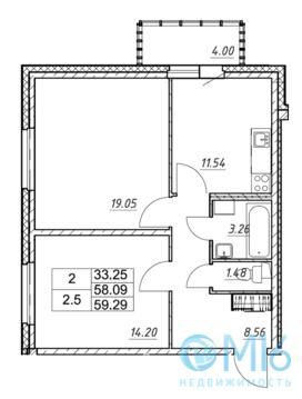 Продажа 2-комнатной квартиры, 59.29 м2 - Фото 2