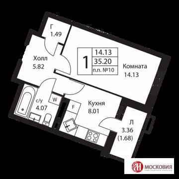Продам 1-к кв с отделкой 35. 2 кв. м. 17км от МКАД по Калужскому шоссе - Фото 2