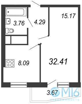 Продажа 1-комнатной квартиры, 32.41 м2 - Фото 3