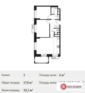 3 ком.квартира 58кв.м в 4км.от МКАД по Варшавскому ш.МО Ленинский р-он - Фото 2
