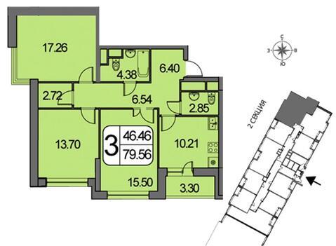 Квартира 81 кв.м. 3-комн. в ЖК Белые Росы 5 минут пешком до м. . - Фото 2