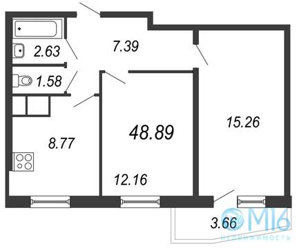 Продажа 2-комнатной квартиры, 48.89 м2, Московское ш, д. 13 - Фото 2