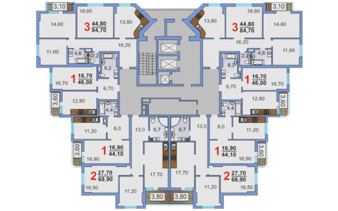 3-х комнатная квартира площадью 84, 7 кв