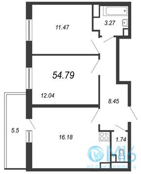 Продажа 2-комнатной квартиры, 54.79 м2 - Фото 2