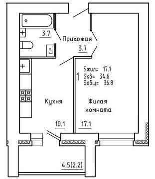 Продажа 1-комнатной квартиры, 36.8 м2, Пугачёва, д. 29а, к. корпус А - Фото 2