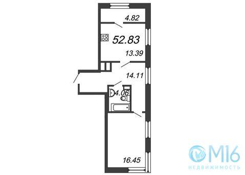 Продажа 1-комнатной квартиры, 52.83 м2 - Фото 2