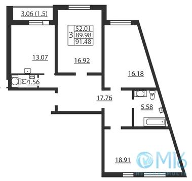 Продажа 3-комнатной квартиры, 91.48 м2 - Фото 1