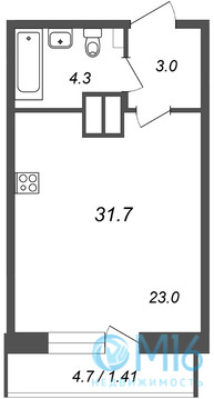Продажа студии, 31.7 м2 - Фото 2