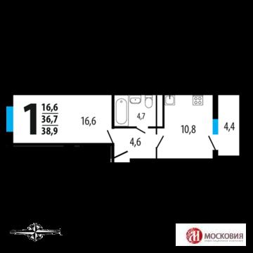 1-к квартира, 39кв.м,14км от МКАД Калужское шоссе - Фото 2