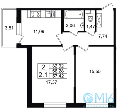 Продажа 2-комнатной квартиры, 57.42 м2 - Фото 1