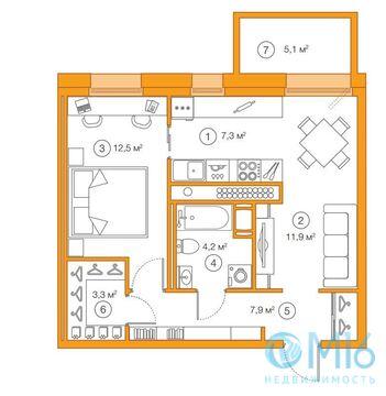 Продажа 1-комнатной квартиры, 47.07 м2 - Фото 1